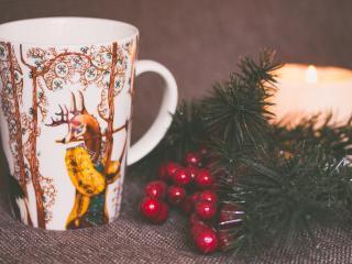 cup, deer, branch wallpaper