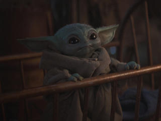 Cute Baby Yoda from Mandalorian wallpaper