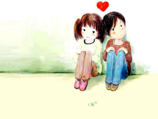 Cute Boy And Girl Are Sitting On Floor wallpaper