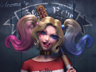 Cute Harley Quinn with Baseball Bat wallpaper