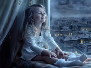 Cute Little Girl Is Sitting Near Window Watching Outside wallpaper