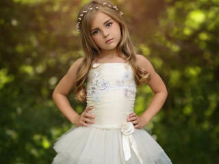 Cute Little Girl Photoshoot in White Dress wallpaper
