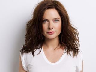 Cute Rebecca Ferguson in White wallpaper