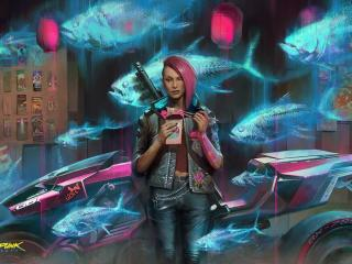Cyberpunk 2077 Cyborg Girl Art wallpaper