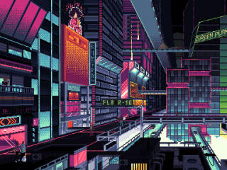 Cyberpunk City Pixel Art wallpaper