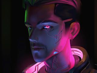 Cyberpunk Cool Cyborg  Neon Art wallpaper