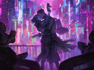 Cyberpunk Couple in Future wallpaper