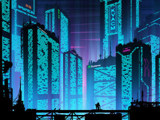 Cyberpunk Futuristic New Port City wallpaper