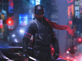 Cyberpunk Futuristic Warrior wallpaper