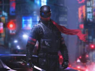 Cyberpunk Futuristic Warrior wallpaper