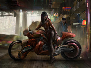 Cyberpunk Girl Futuristic Motorcycle wallpaper