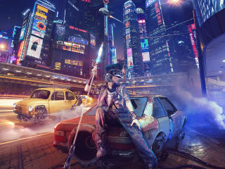 Cyberpunk Girl In City wallpaper