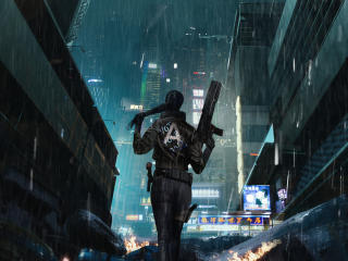 Cyberpunk Girl In Rain wallpaper