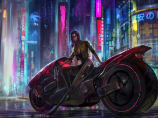 Cyberpunk Lonely Cyborg Illustration wallpaper