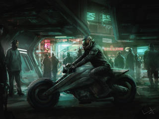 Cyberpunk Motorcycle Art wallpaper