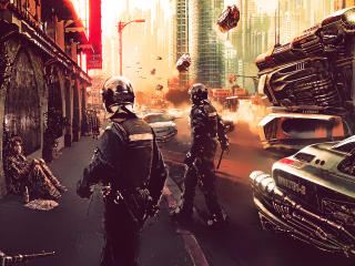 Cyberpunk Science Fiction Futuristic City And Police wallpaper