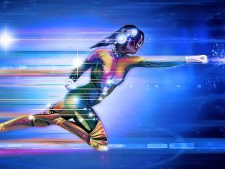Cyborg 4K Female Fly wallpaper