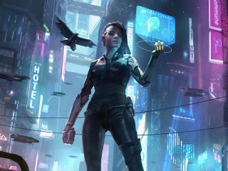 Cyborg Futuristic Cyberpunk Girl wallpaper