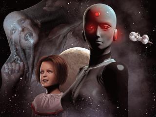cyborg, girl, man wallpaper