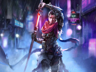 Cyborg with Sword Cyberpunk wallpaper