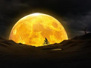 HD Wallpaper | Background Image Cycling Near Yellow Moon