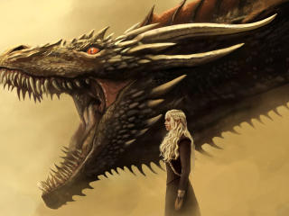 Daenerys and Drogon Art wallpaper