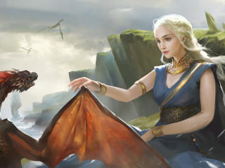 Daenerys Targareyn With His Dragon Art wallpaper