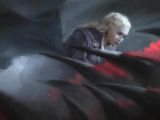 Daenerys Targaryen Game Of Thrones Flying Dragon Artwork wallpaper