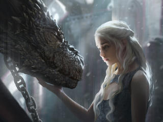 Daenerys Targaryen With Dragon Artwork wallpaper
