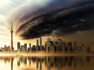 HD Wallpaper | Background Image Dark Clouds Over CIty