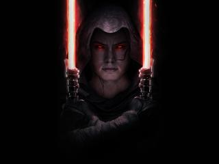 Dark Side Rey and Double Bladed Lightsaber wallpaper