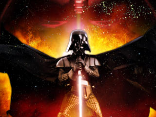 Darth Vader with Lightsaber wallpaper