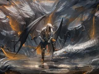 demon, dragon, cave wallpaper