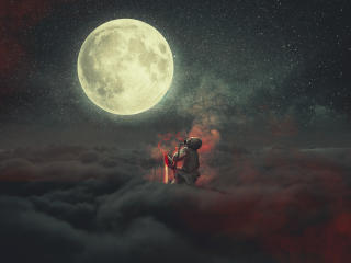 Demon Staring At Moon wallpaper