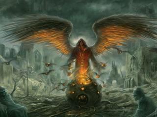 demon, wings, city wallpaper