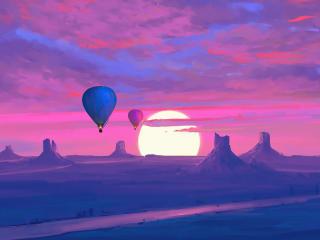 Desert Art and  Hot Air Balloon wallpaper