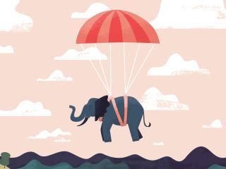 digital, elephant, parasailing wallpaper