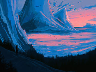 Digital Mountain Artistic wallpaper