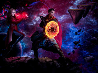 Doctor Strange and Scarlet Witch Madness of multiverse Art wallpaper