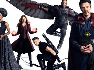 Doctor Strange, Falcon, Scarlet Witch And Hawkeye In Avengers Infinity War wallpaper