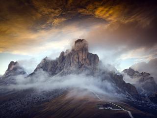 Dolomites Italy Fogy Mountains wallpaper