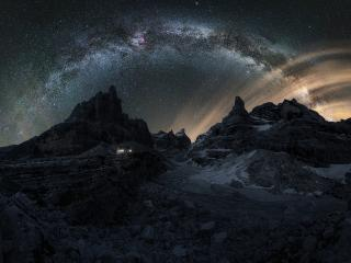 Dolomites Mountains Milky Way wallpaper
