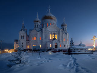 Dome Monastery Russia Temple in Winter wallpaper