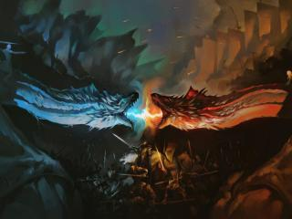 Dragon Battle Fire Vs Ice Game Of Thrones wallpaper
