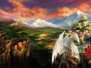 dragon, castle, princess wallpaper