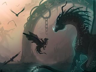 dragon, chain, cub wallpaper