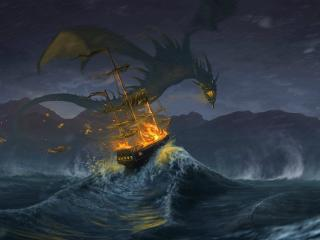 Dragon Destroying The Ship wallpaper
