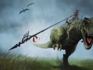 dragon, fall, grass wallpaper