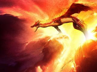 dragon, fire, sparkles wallpaper