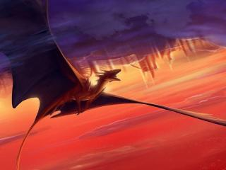 dragon, flying, sunset wallpaper